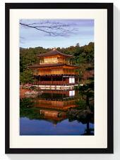 Kinkaku-ji padiglione dorata tempio Giappone LEGNO MASSICCIO quadro Immagine Decorazione 40 x 30