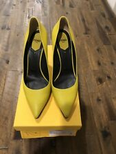Fendi Anne Neon Pointed Toe Pump shoes Lime Yellow Pointy Heels Size 39