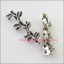 3Pcs Tibetan Silver 7 Hole Leaf Spacer Bar Beads Connectors Charms 12.5x31.5mm
