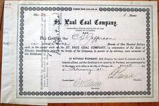 1921 Mining Stock Certificate: 'St. Paul Coal Company' - Chicago, Illinois IL