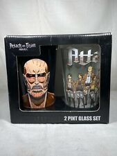 Pint Glass 2 Pack Official Attack on Titan Set of 2 New
