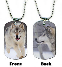 DOG TAG NECKLACE - Wolf 10 in Winter Snow spiritual native mystical wolves