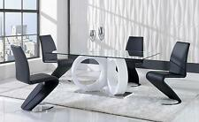 ALIANA 5PC DINING SET D9002DT D9002DC BL TABLE & 4 CHAIRS WHITE / BLACK