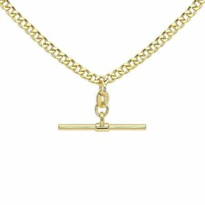 9ct Yellow Gold 18 Inch Hollow Diamond Cut Curb Albert T-Bar Necklace
