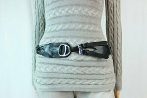 Ralph Luaren Woman's Black Leater Braided Belt~Equestrian Style Buckle~NWT