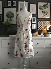 12 Cream Floral Dress Roses Pencil Elegant Feminine Strech Cotton