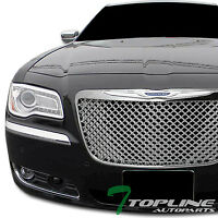 Topline For 2011-2014 Chrysler 300/300C Mesh Front Hood Bumper Grille - Chrome
