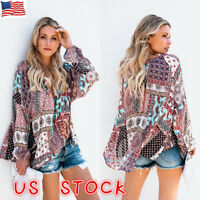 US Womens Boho Floral V-neck Long Sleeve Shirt Ladies Loose Casual Tops Blouse