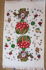 """VINTAGE SANTA & REINDEER in HOT AIR BALLOON CHRISTMAS HAND TOWEL 23.5 x 14"""" USED"""