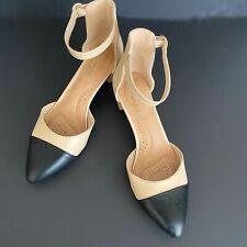 Dexflex Comfort Black Pointed Toe Block Heel Pumps in Nude Size 8