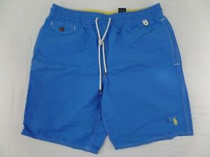 Polo Ralph Lauren Mens Swim Suit Shorts Trunks Blue Elastic Waist Pony