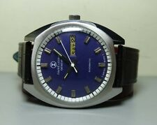 VINTAGE Favre Leuba AUTO DUOMATIC DAY DATE MENS WATCH H107 BLUE DIAL OLD ANTIQUE