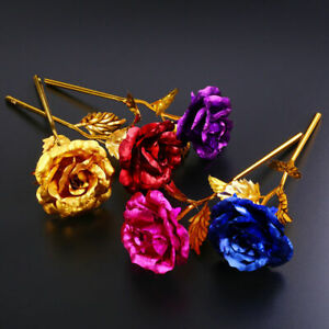 24K Gold Plated Flower Valentine Day Birthday Romantic Golden Rose Without Box