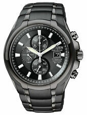 Citizen Eco-Drive Mens Black IP Titanium Chronograph Black Dial Watch CA0265-59E