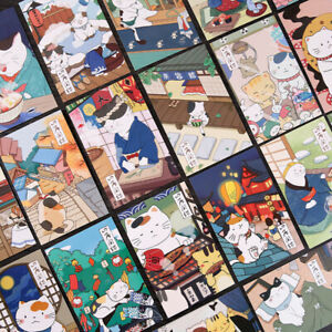 """Japanese Cat"" 30pcs Mixed Postcards Set Lot Cute Postcard Bookmark Girls Gift"