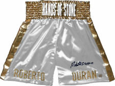 Roberto Duran Hands of Stone Autographed White Boxing Trunks ASI Proof