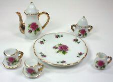 TINY TEA SET MAUVE ROSE TEAPOT SUGAR BOWL CREAMER 2 TEACUPS PLATTER PORCELAIN
