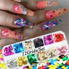 12 Grids 3D Nail Glitter Sequins Holographic Laser Butterfly Nail Art Decor DIY