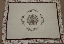 Quilted Floral Pillow Sham Floral Offwhite Burgundy Red Green Embroidered