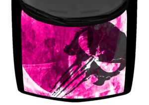 Punisher Skull Grunge Abstract Hot Pink Truck Hood Wrap Vinyl Car Graphic Decal