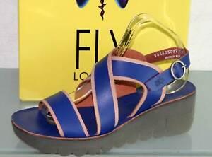 FLY LONDON Leder Sandalette Sandale - Made in Portugal - YAZE Blue - Neu! Gr. 37