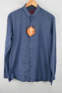 HUGO BOSS Mens Shirt RED LABEL STRIPED Long Sleeve SLIM LINE Fit Large P38