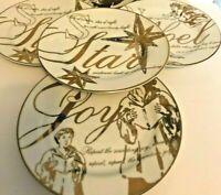 "Lot 4 Vtg PREJECTING 2500 GOLD 8"" Plate CHINA DINNERWARE Ceramic JOY Angels STAR"