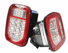 Bright Red Jeep TJ CJ YJ JK Replacement Tail Lights w LED's Illuminator on Left