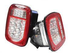 Bright Red Jeep TJ CJ YJ JK Replacement Tail Lights w LED's Illuminator on Left