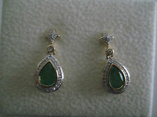 DIAMOND & EMERALD DANGLING EARRINGS 18 CARAT YELLOW GOLD