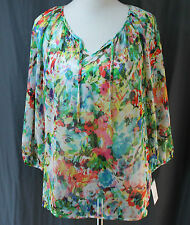 Liz Claiborne, PL, Jade Multi Floral Print/ White Cami Top, New with Tags