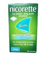 New Nicorette Icy White Gum 4mg - 105 Pieces. Expiry 03/22