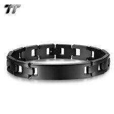MENS Quality TT 12mm Width Black Stainless Steel ID Bracelet BBR231 NEW