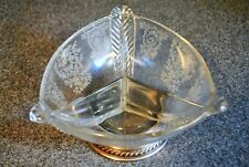 Vintage Etched Crystal Three Section Dish With Silver Base, Fostoria Style