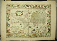 World old map aft Willem Janszoon BLAEU c1900 Carte du monde América USA terrae