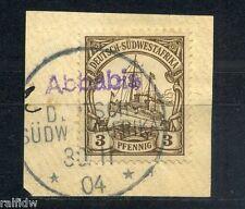 DSW 3 Pfg. Yacht mit Wanderstempel Abbabis auf kleinem Briefstück 1904 (S7621)