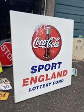More details for large coca cola sign metal sport england retro vintage