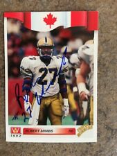signed in person ROBERT MIMBS  CFL WINNIPEG BLUE BOMBERS  AW # 60  1992