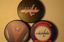 Washington Capitals Hat Trick 3 Official NHL Licensed Pucks Basic-Stitch-Retro