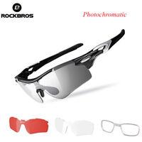 RockBros Bike Polarized Glasses Photochromatic Eyewear with Myopia Frame Black