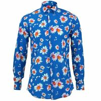 Mens Shirt Loud Originals TAILORED FIT Floral Blue Retro Psychedelic Fancy