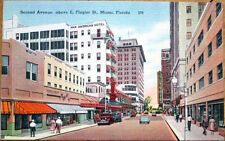 1949 Linen Postcard: Second Ave at E Flagler St, Pan American Hotel - Miami, FL