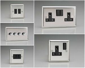 Varilight Classic Polished Chrome Range - Black Inserts & Black Plastic Switches