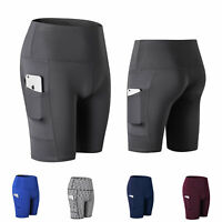 Women's High Waist Out Pocket Yoga Shorts Tummy Control Workout Running Athletic