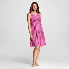 NWT LIZ LANGE Maternity DRESS Casual Pink White Striped sz M belt SLEEVELESS