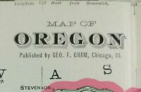"Vintage 1903 OREGON Map 22""x14"" Old Antique Original PORTLAND ROSEBURG TILLAMOOK"