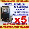 AUTOAPPRENDENTE TELECOMANDO 433 MHZ CANCELLO 5 GARAGE PER FAAC CAME FADINI wb