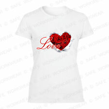 Valentines Day Ladies T shirt - Love Rose Heart -Present for girls -Cotton Tops
