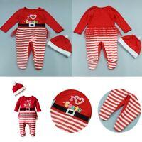 Baby Girls Christmas Xmas Romper Jumpsuit Footie Beanie Cap Outfit Set Costume