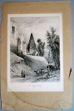 Lithographie, Eglise et Chateau de Péquigny, Picardie